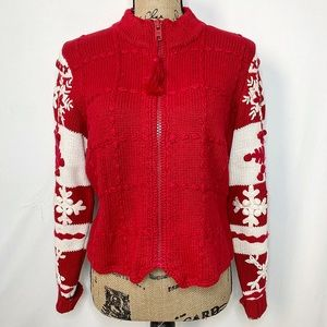 Michael Simon Red White Knit Snowflake Cardigan